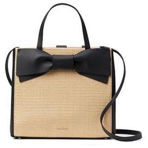 Kate Spade olive straw Bridgette bow satchel